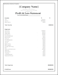Projected Profit And Loss Statement Template