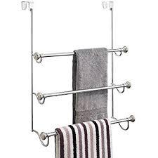 towel hanger. InterDesign York - Over-The-Shower-Door 3-Bar Towel Rack Split Finish Stainless Steel 7.25 X 22.5 17.75 Inches Hanger