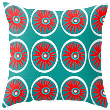 Modern Outdoor Pillow Red and Turquoise Contemporary Outdoor