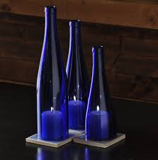 DIY Set of Blue Wine Bottle hurricane lamps, Wedding Centerpiece, Table  Centerpiece, wine bottle candles. Comes with three tile coasters with  crushed ...