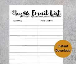 emailing list template email list template newsletter sign up form digital pdf