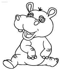 Christmas Hippopotamus Coloring Page With For Kids Singular Baby