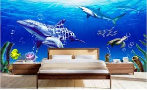Design Large Mural Wall Girl Cartoon Fish Bedroom Kids Room Dolphins  Wallpaper Wall Covering Tv 3d