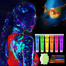uv blacklight reactive face body paint art party club fancy dress dancing makeup luminous art paint gold jewelry tattoos temporary