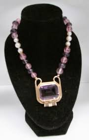 14 kt yellow gold large amethyst pendant on pearl amethyst quartz bead necklace toronto gold silver