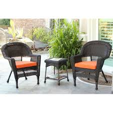 wicker patio furniture cushions. Jeco 3-Piece Espresso Wicker Patio Chairs And End Table Furniture Set - Orange Cushions H