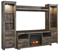 Rustic TV Stand w Fireplace Insert 2 Tall Piers & Bridge