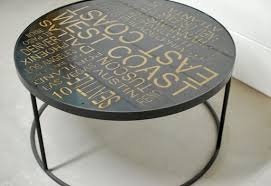 Modern Outdoor Furniture Los Angeles Custom Round Industrial Coffee Table West Coast Typography Art Etsy