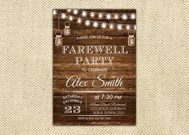 Farewell Party Invitation Farewell Invite Farewell Party Invitation Rustic Retirement Party Invitation Bon Voyage Wood Fairy Lights