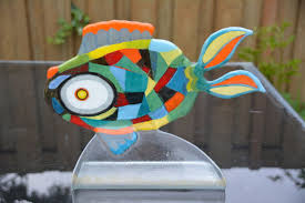 noor laupman for leerdam special signed stained glass fish