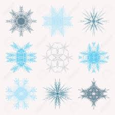 blue snowflakes white background. Simple Snowflakes Collection Of Different Blue Snowflakes Isolated On White Background  Winter Frozen Geometric Symbol Stock Throughout Blue Snowflakes White Background