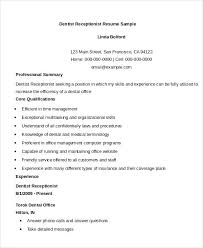 Dentist Resume Samples Example Receptionist Resume Resume Example Receptionist Receptionist