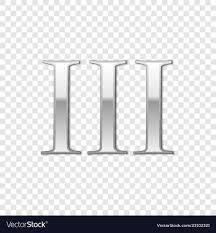 Roman 3 Silver Roman Numeral Number 3 Iii Three In