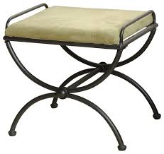 iron upholstered vanity stool sage