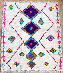 custom moroccan rug azilal wool custom rug with white background and colorful diamonds