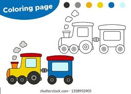 Cupcake liner hot air balloon kids craft. Vector Coloring Page Cartoon Train Educational Stock Vector Royalty Free 1358955905