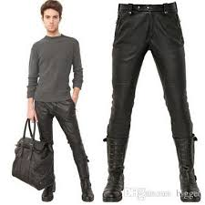 2018 Male Black Leather Pants Super Skinny Motorcycle Biker Faux ... & 2018 Male Black Leather Pants Super Skinny Motorcycle Biker Faux Leather Pu  Trousers For Men Quilted Knee Leather Cothing From Bigget, $56.29    Dhgate.Com Adamdwight.com