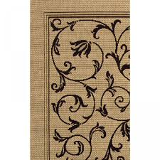 courtyard terrace scroll sand black outdoor rug 2ft 7in x 5ft