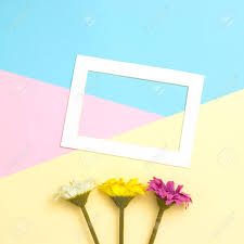 Empty Frame And Flowers Flat Lay On Pastel Background With Copy