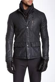 image of john varvatos collection snap zip front motocross linen jacket