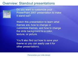 Design For Powerpoint 2007 Power Point 2007 Personalize Your Slide Design
