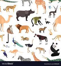 Seamless pattern with exotic animals and birds on Vector Image