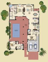 u shaped house plans with central courtyard swimming pool g in at middle