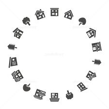 家と木のサークルグレーシルエット イラスト素材 5129792 フォト