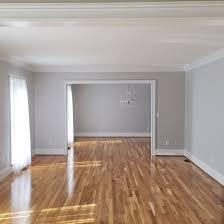 oak floors and light grey wall paint