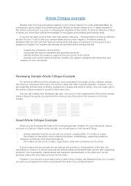 example of critique essay article critique example apa critique  article critique example apa articles to critique drureport web fc com