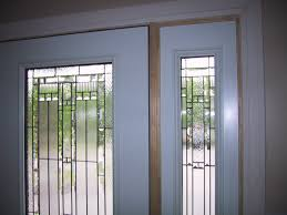 frosted fiberglass exterior glass doors insert and wooden