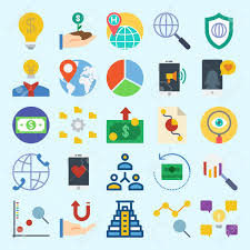 Icon Set About Marketing With Money Location Networking Line