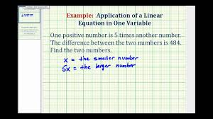 ex linear equation with one variable number problem