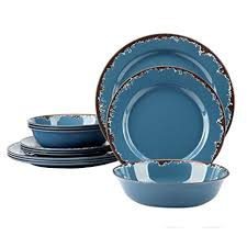 blue dinnerware sets. Perfect Blue Melamine Camping Dinnerware Set  Yinshine 12 PCS Dishes Service For 4  Blue For Sets