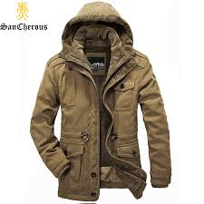 men warm parkas heavy wool winter jacket