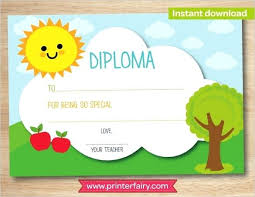 Preschool Graduation Certificate Editable Kindergarten Diploma Template Preschool Diploma Certificate