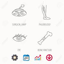 Eye Bone Fracture And Vein Varicose Icons Surgical Lamp Linear