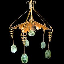 arts crafts ceiling light with vaseline shades by w a s benson