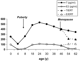 Testosterone Level Chart By Age Average Estradiol E2 And Testosterone T Levels Across