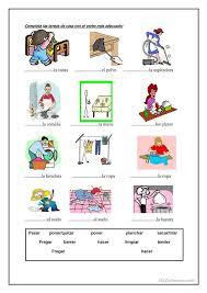 las tareas de la casa | Spanish Worksheets - Hojas de Trabajo ...