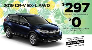 new 2019 honda cr v ex l 4dr suv awd 36 month 36 000 mile lease from ahfs offers include all applicable incentives no down payment first payment or