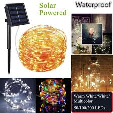 100 White Outdoor Led Solar Fairy Lights Outdoor Solar Powered Copper Wire Led String Lights 20m 10m 5m Waterproof Fairy Light For Christmas Garden Holiday Decoration