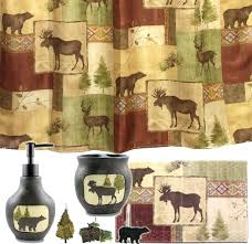 lodge cabin curtains amazing bear bathroom decor shower curtain moose fabric new bath log hooks lodge cabin curtains bear shower