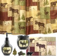 lodge cabin curtains amazing bear bathroom decor shower curtain moose fabric new bath log hooks lodge cabin curtains bear shower