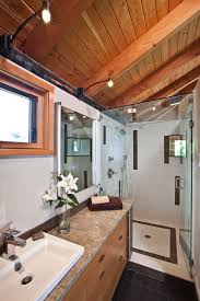 dark wood floors with light grey walls bathroom contemporary with gray wall glass shower ceiling wall shower lighting