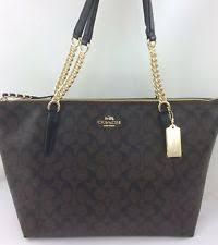 New COACH F23526 AVA Chain Signature Tote Handbag Purse Shoulder Bag  Brown Black