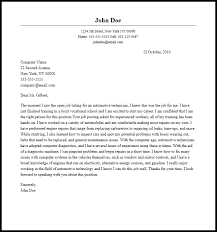 Professional Automotive Technician Cover Letter Sample Writing