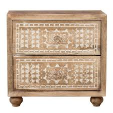 nomad tribal carved mango wood small chest of drawers with a burnt wax finish