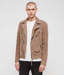 men s leo suede biker jacket taupe brown image 1