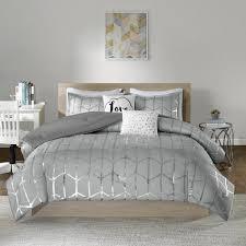 intelligent design khloe 4 piece grey silver twin twin xl geometric comforter set
